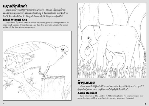 Samples pages from our book: Lao Animals Coloring Book