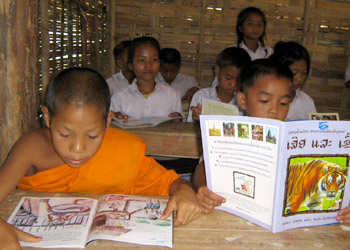 Lao children reading in school
