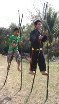 Stilts made from bamboo, a traditional Lao toy.